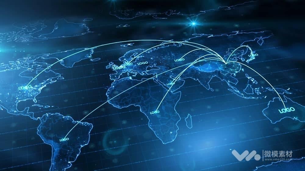 中国地图辐射全世界遍布全球地图 AE模板
