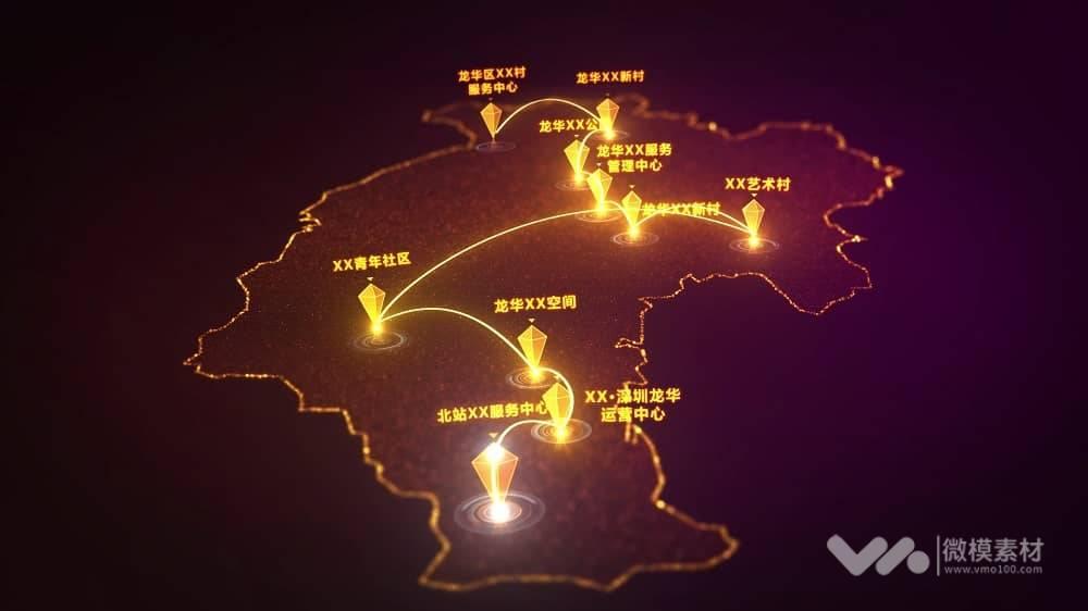 原创深圳市龙华区区位图AE模板